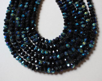 Full Strand Faceted Crystal Rondelles 4mm x 3mm Black AB