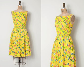 vintage 1960s dress /  bright yellow floral print 60s dress / Tulip Time