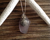 Lavender Seaglass Pendant with Seashell