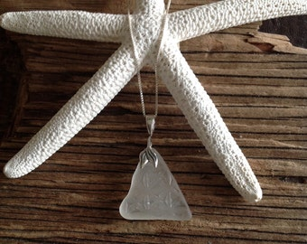 Flower Etched White Seaglass Pendant