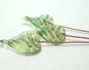 Handmade lampwork headpins  -  Gooseberry Leaf Trio  -  leaf headpin, green, pale green, pale olive, glass headpins