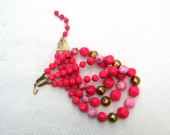 Japan Necklace Hot Pink Triple Strand Bead Choker Vintage 60s Costume Jewelry