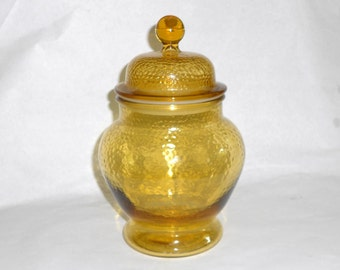 Vintage Chinoiserie Golden Yellow Glass Ginger Jar Hollywood Regency Mid Century Modern