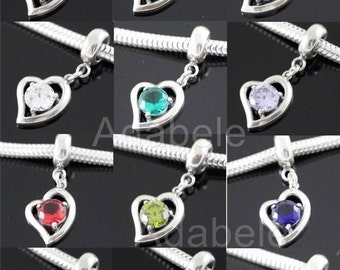 1 x Heart Love Sterling Silver Charm Sparkle Birthstone Bead For European charm bracelet