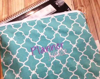Planner pouch, Planner junkie embroidered, zippered planner pouch, pouch for planners