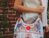 White and multi colored hand  Embroidered Huipil Boho Travel tote