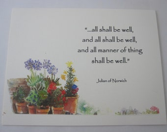 All Shall Be Well Greeting Card with Envelope - Set of 5 Note Cards with Envelopes
