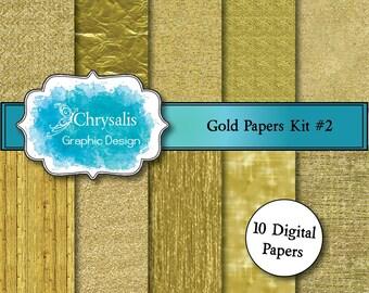 GOLD digital scrapbook papers kit #2 (set of 10)
