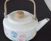White Enamel Tea Pot Wood Swivel Handle & Knob With Tulips