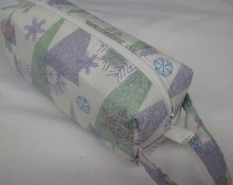 Pastel Christmas Tree - Surprise embroidery Inside - Cosmetic Bag Makeup Bag LARGE