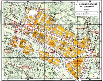 1920s Paris street map 4th arrondissement.  Digital download. Notre Dame, Seine River, Rivoli,  Plan de Paris for decoupage, invitations.