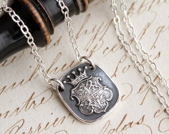 Eagle and Lion of Strength and Courage Wax Seal Necklace - Fine Silver and Sterling Silver