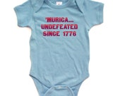 Hilarious Murica Undefeated Since 1776 Funny USA Cute Baby Short Sleeve Bodysuit