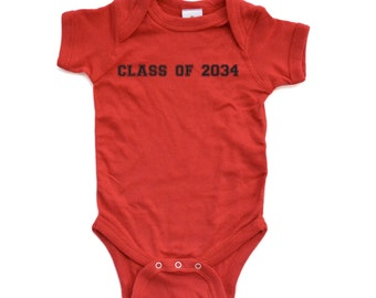 "Apericots Cute Funny ""Class of 2034"" Short Sleeve Soft Baby One Piece Bodysuit"