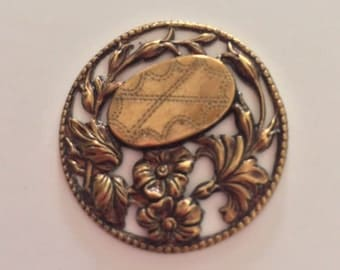 Brass Pierced Button with Flower and Leaf Motifs
