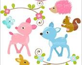 ON SALE deer clip art - bambi clip art, instant download Digital clip art, Baby animals 2, rabbit, squirrel, Hedgehog, flower border