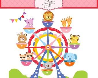 ON SALE ferris wheel clip art - Digital clip art, amusement park, cute animals clip art,  instant download