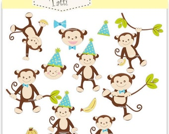 Monkey Clipart _ Boy Monkey Clipart. Birthday Monkey Clipart,Blue Monkey Boy,Baby Monkey Party Boys,instant download,ON SALE