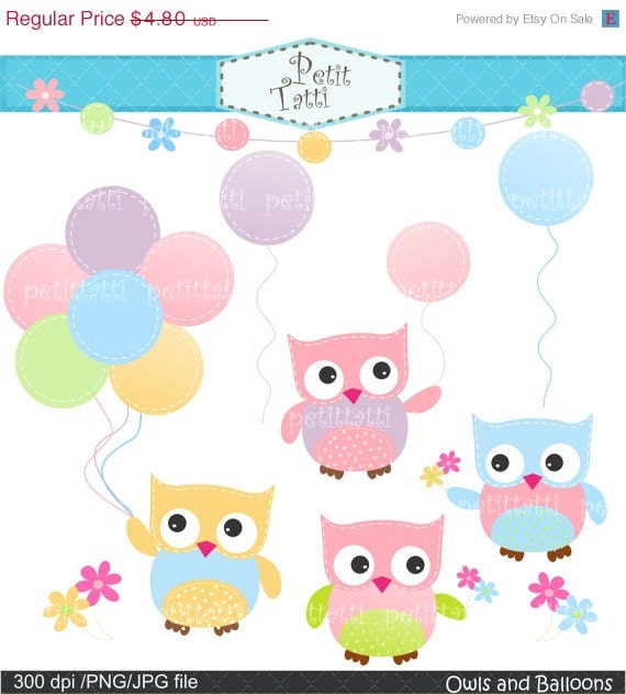 ON SALE cute owl clip art - soft colour -  Digital clip art Png , Owls and Balloons 2, instant download