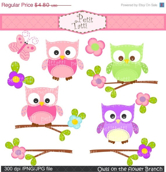 ON SALE Owl on the flower branch clip art - Digital clip art  for all use, pink, green, purple , instant download, owl clip art