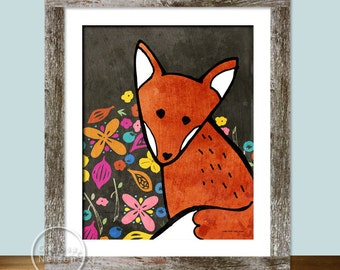 Fox Illustration Children's Art Printable - Instant Download 8x10