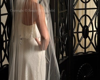 Pencil Edge Veil, Wedding Veil - Cathedral or Chapel - White, Diamond White, Light Ivory, Ivory, Blush or Champagne