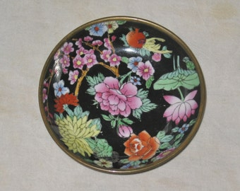 Vintage Enamel and Brass Bowl Wall Hanging, Colorful Floral Bowl, Bowl with Flowers, Chinese Home Decor
