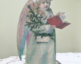 Vintage Victorian Music Box Christmas Angel Scrap Picture Musical Box, Glittered coat and Hat, Copy of Original, Le Petit Museum Music Box