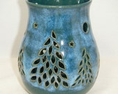 Pine Trees Moon Northern Lights Luminary Star Candle Holder
