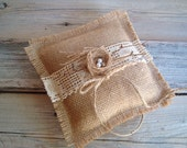 Ringbearer pillow in natural burlap with birds nest