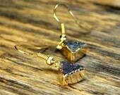 Druzy Triangle Earrings, Druzy Earrings, Druzy Gold Earrings, Druzy Jewelry, Gold Triangle Earrings,Blue Druzy Stone, 14k Gold Fill Ear Wire