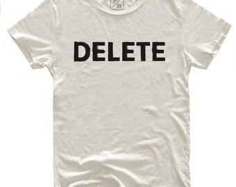 Delete, 100 Percent Cotton Vintage White T-shirt, unisex