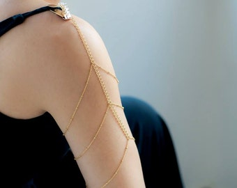 Arm and Shoulder Jewelry, Body Chain, Body Jewelry, Dainty Gold Plated Jewelry