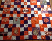 Full/Queen Size Upcycled Patchwork Clemson Tshirt Blanket/Quilt