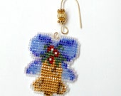 Christmas Bell Ornament Tree Decoration in gold with a shaded blue ribbon freehand loom stitch with custom hanger