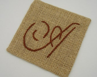 Burlap Coasters with Embroidered Monogram, Customized for You! Made to Order, FFT original design