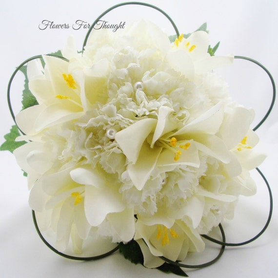 Creamy White Lilies and Carnation Wedding Bouquet, Silk Bridal Flowers with Pearls, FFT original design, Made to Order