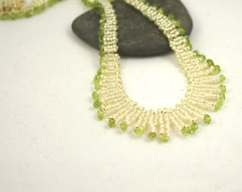 Peridot Necklace . Beadweaving Fringe Necklace . Fringe Jewelry . Seed Bead Jewelry