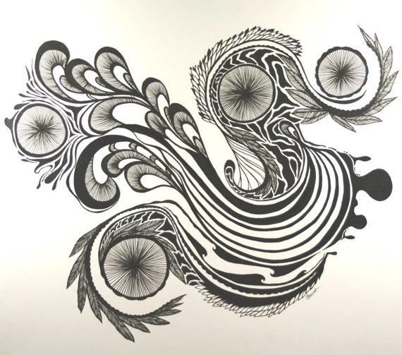 articles similaires lyriques noir et blanc dessin pen dessin original de stylo art abstrait. Black Bedroom Furniture Sets. Home Design Ideas