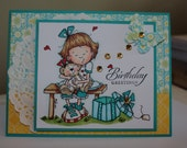 Handmade, Handstamped Handcrafted, Birthday Paper Greeting, Card