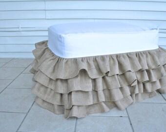 Burlap Ruffled Ottoman Slipcover