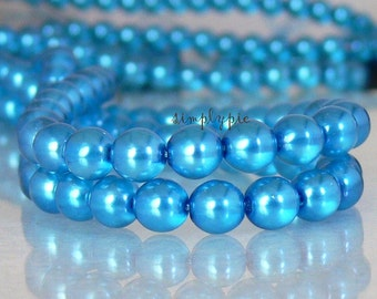 Pearl Lights Teal Turquoise Czech Glass Beads 6mm Round 25