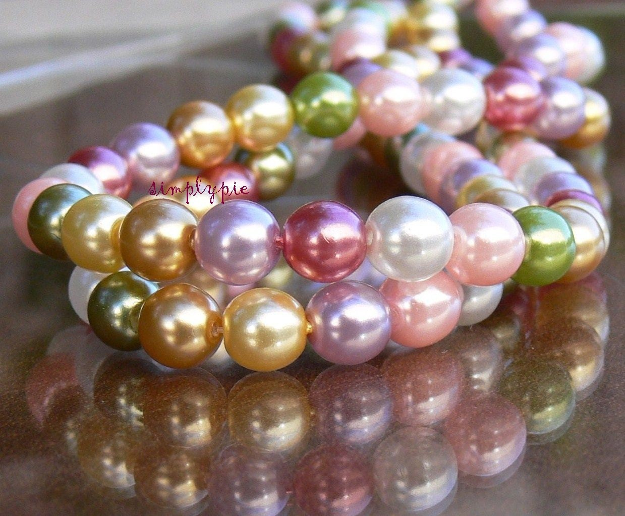 pastel summer pearls czech glass beads 6mm round 25. Black Bedroom Furniture Sets. Home Design Ideas