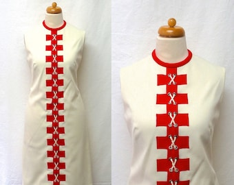 1960s / 70s Vintage Lace-Up Jersey Dress / Cream & Red Geo Applique Nautical Dress