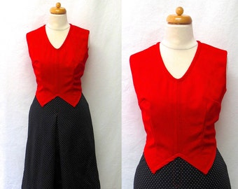 1960s Vintage V Neck Jersey Dress / Red Black & White Colour Block Dress