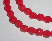 Preciosa Czech fire polished ROUND faceted Crystal Beads opaque RED ---  Full strand - Available in 4mm, 6mm, 8mm and 10mm
