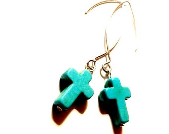 ONE DOLLAR SALE - Earrings - Turquoise Crosses on Unique Silvertone Earwires