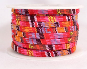 5mm Flat Pink Multi-Colored Cotton Cord - 5MCC-G95 - Choose Your Length