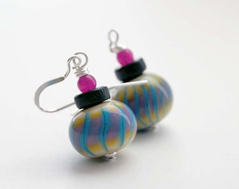 Colorful Earrings, Lampwork Glass Earrings, Striped Earrings, Ombre earrings, Pink Blue Earrings