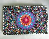 Original Dot Mandala Painting on Wood